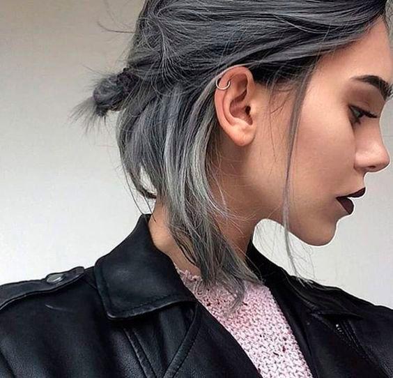 Recogido de pelo gris