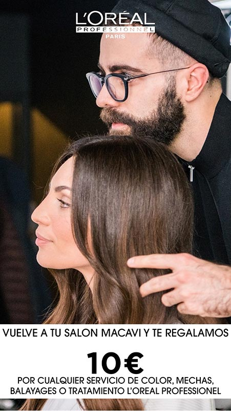 oferta de 10 € en macavi de L'oreal para cualquier servicio de peluquería