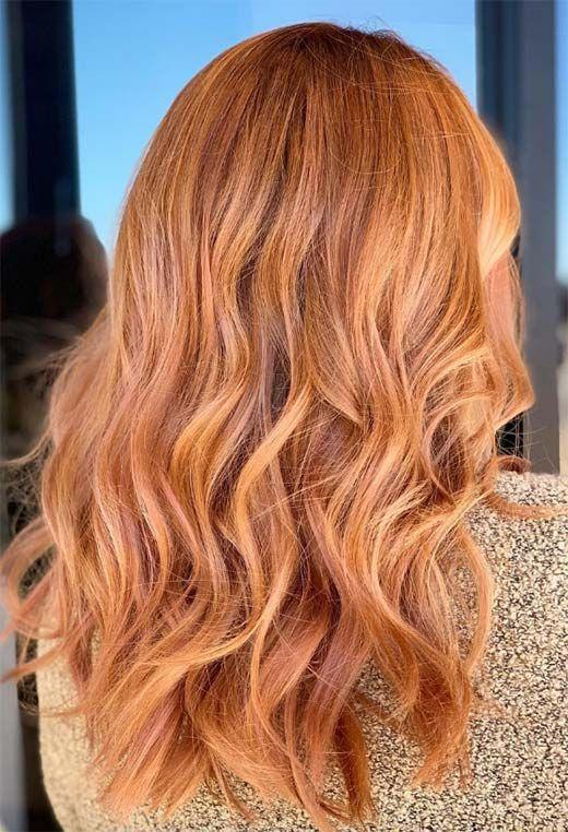 el color del otoño para el cabello, tono rojizo