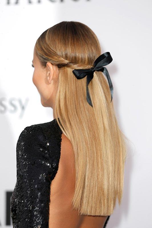 peinado semi recogido tipo twist con lazo